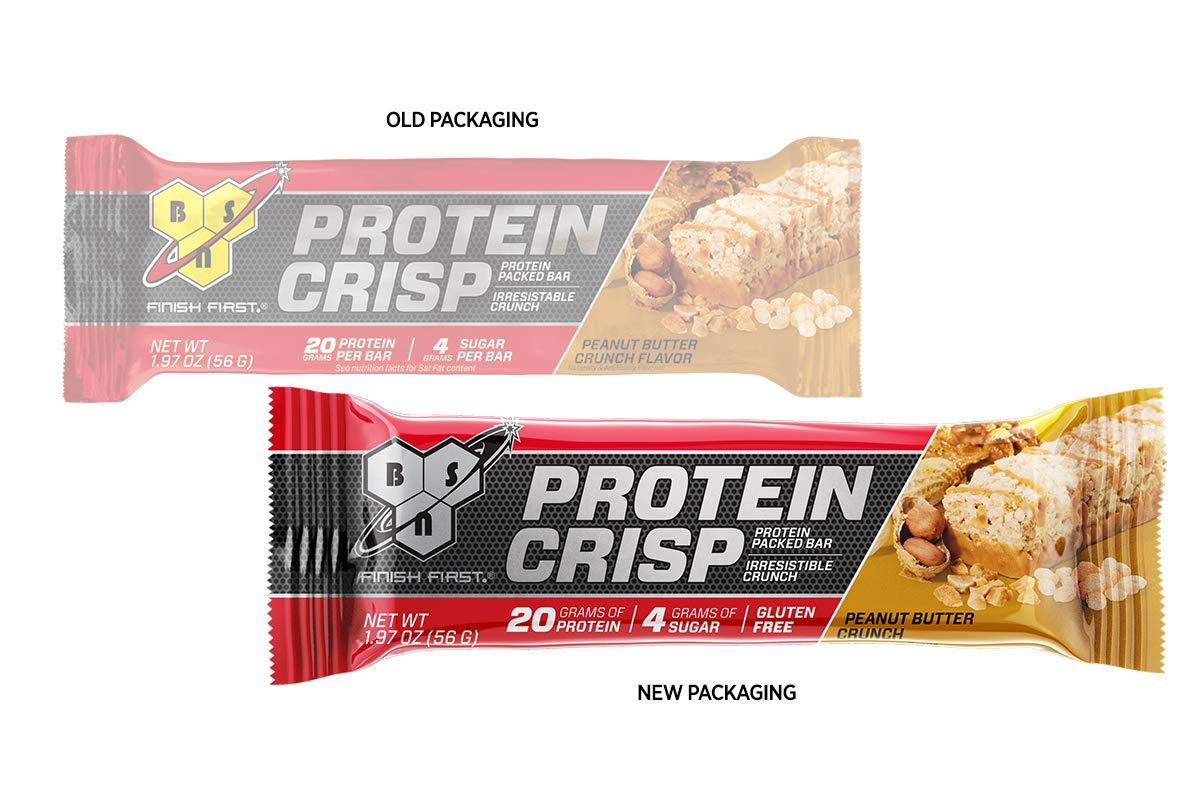 BSN Protein Crisp Bar by Syntha-6, Low Sugar Whey Protein Bar, 20g of Protein, Peanut Butter Crunch, 12 Count (Packaging may vary) by BSN (Image #3)