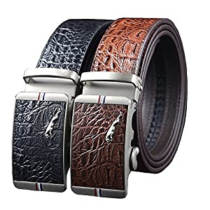 Men's Business Ratchet Dress Belt Alligator Leather Belt with Automatic Buckle Belt Length 51″ S-3XL