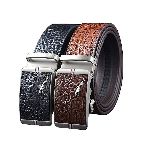 "Men's Business Ratchet Dress Belt Alligator Leather Belt with Automatic Buckle Belt Length 51"" S-3XL"