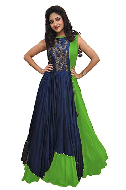 57c445bd7a Kathiyawad Creation Women's Banglori Gown With Jacket (TK016, Navy Blue &  Green, Free Size): Amazon.in: Clothing & Accessories