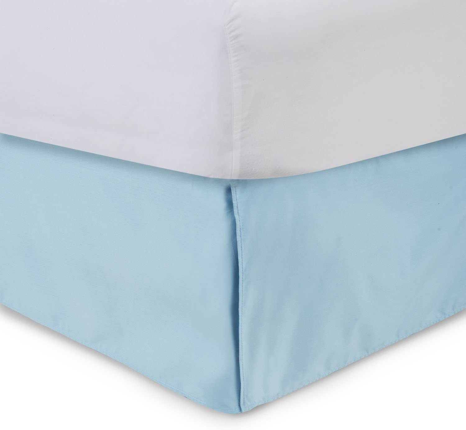 Harmony Lane Tailored Bed Skirt - 14 inch Drop, Porcelain Blue, King Bedskirt with Split Corners (Available in and 16 Colors)