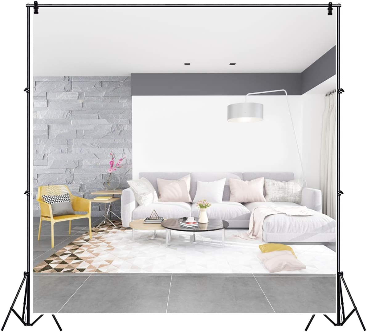 YEELE Bright Living Room Interior Photography Backdrop 10x10ft Fashion Furnitures Inside Cozy Apartment Background Modern House Indoor Home Kids Adult Portrait Photo Studio Props Wallpaper
