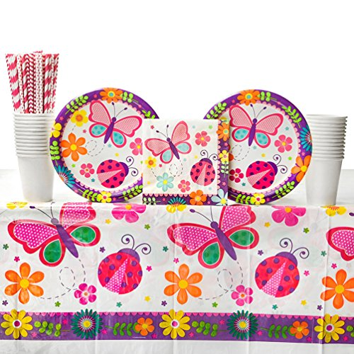 Birthday Luncheon Paper Plates Party (Cedar Crate Market Bundle: Butterfly Garden Birthday Party Supplies Pack for 16 Guests: Straws, Dinner Plates, Luncheon Napkins, Table Cover, and Cups)