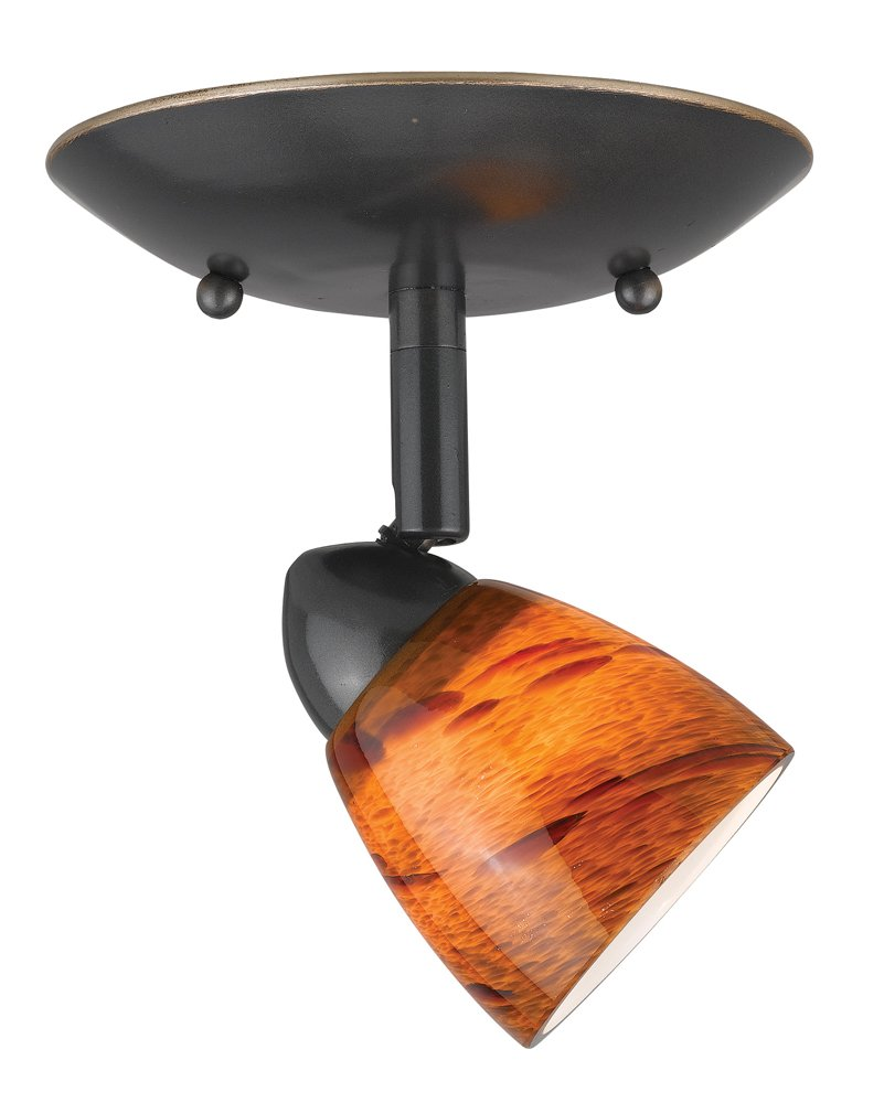 Cal Lighting SL-954-1-DB/AMS Spot Light with Amber Glass Shades, Dark Bronze Finish