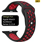 Taslar Replacement Band Strap for Apple Watch 42mm / 44mm Series 4, Series 3, Series 2, Series 1, Sport, Edition (Black Red)