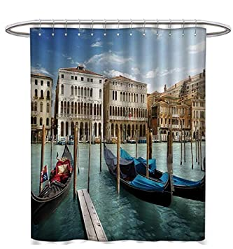 Italian Shower Curtains Fabric Extra Long Gondolas In The Venetian Adriatic Lagoon Historical Venezia Photo Bathroom