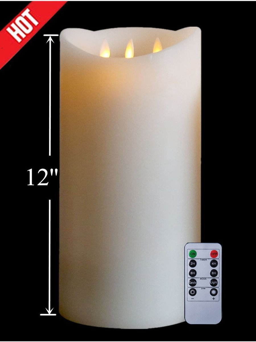 12'Huge 3-Wicks Flameless with Timer, Battery Operated Candle W/R, Ivory by NONNO&ZGF