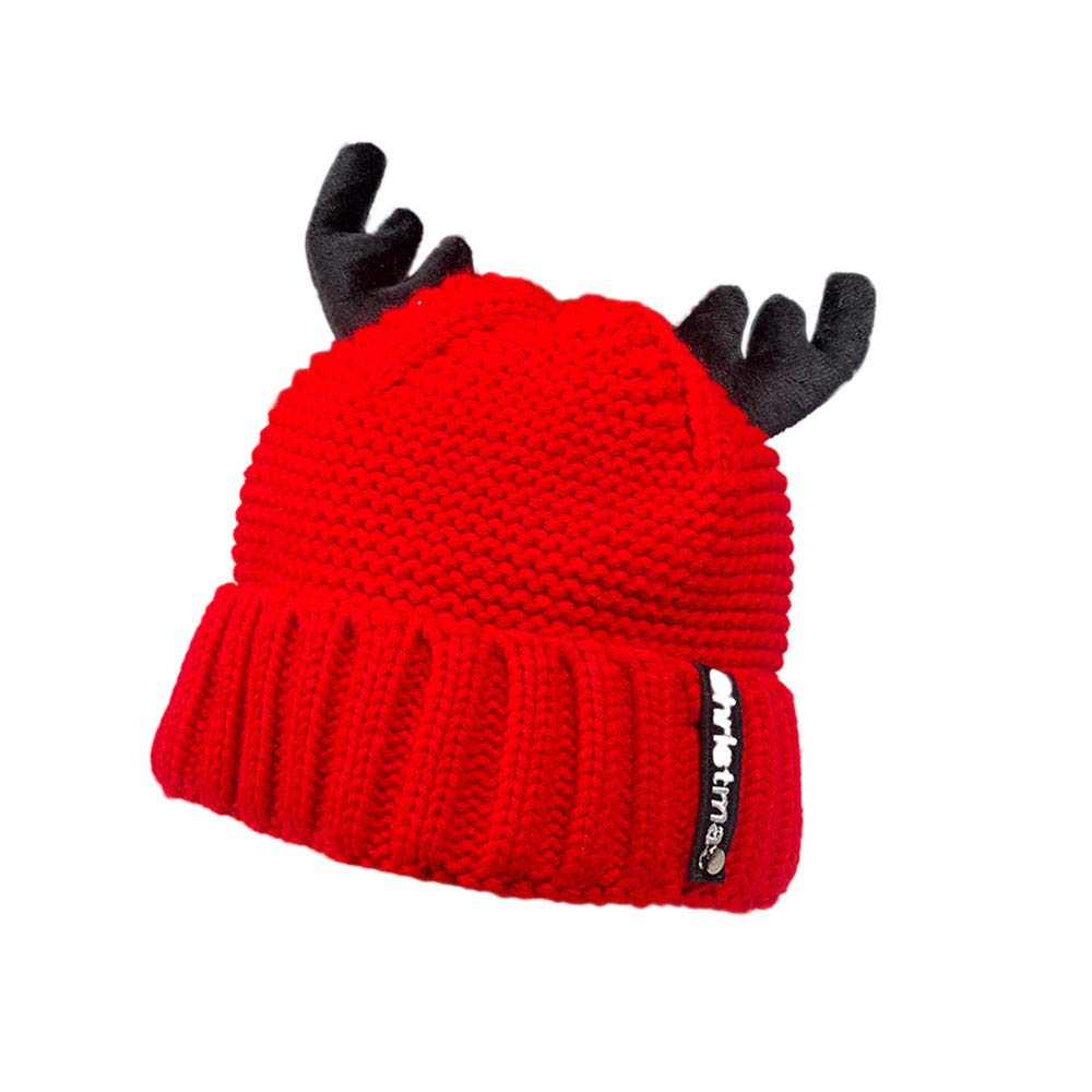COTTONI-Hats Christmas Hat and Knife Tool,Christmas Hat Beanie,Christmas Hat Baby Boy,Christmas Hat Shower Curtain,Women Autumn Winter Cashmere Antler Hat Knitting Wool Warm Christmas Hat,Red,M