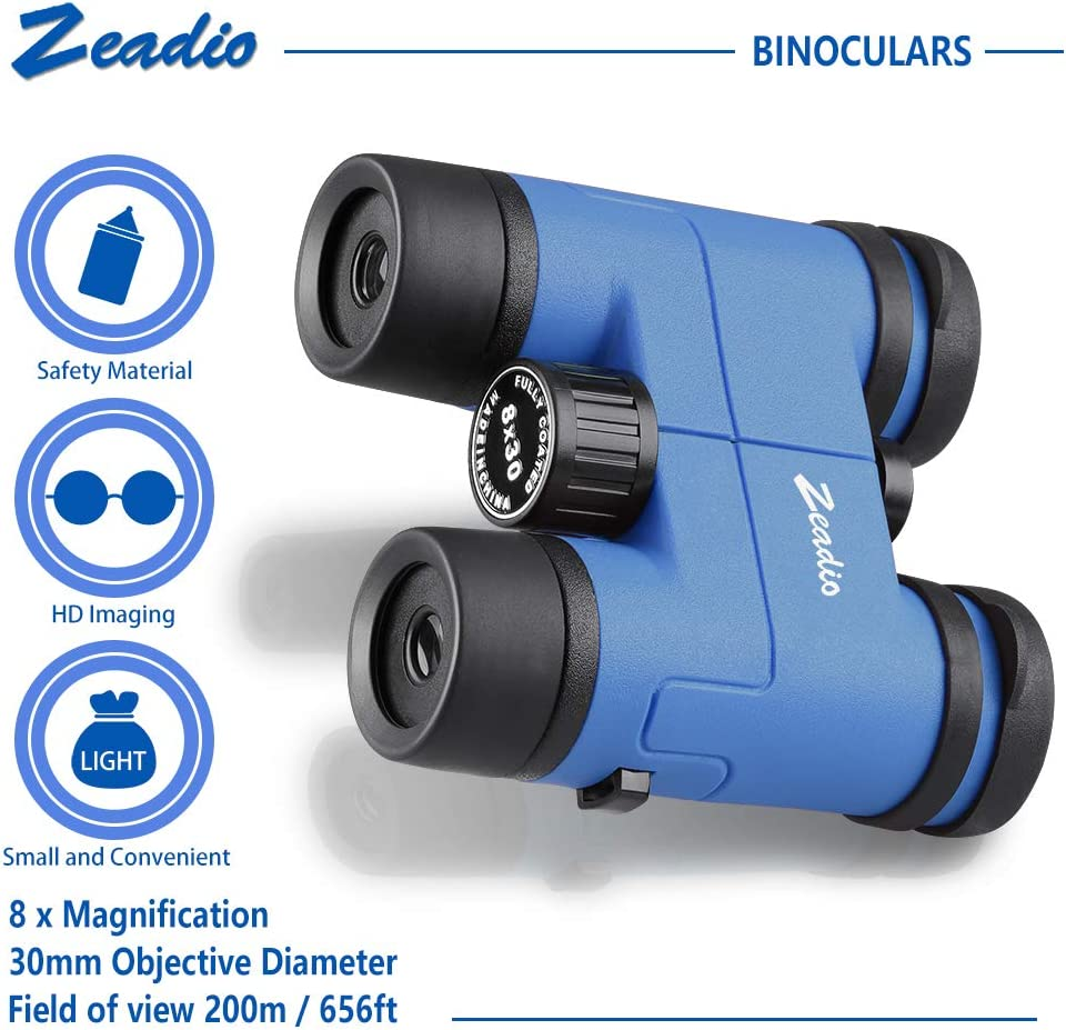 Camping and Travel Perfect for Watching Football Safari Sightseeing Zeadio Binoculars for Kids Blue