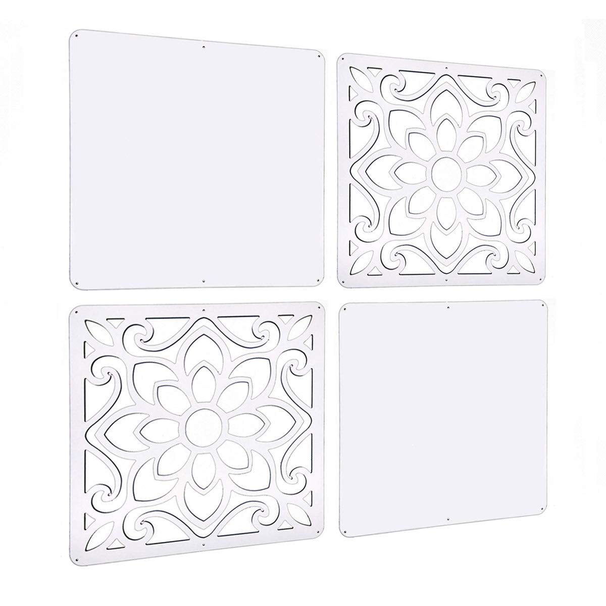 Lchen Hanging Room Divider, White Wood-Plastic Board&Cut Screen Panel for Living Room and Beding Room (BTT-M4L,15.3''X15.3'') by Lchen (Image #1)