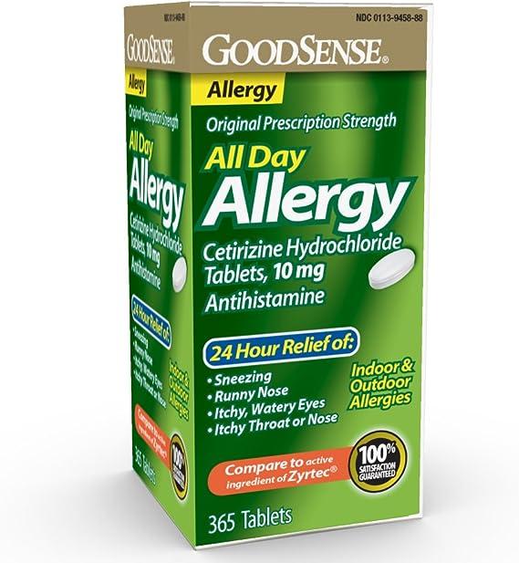 Amazon Com Goodsense All Day Allergy Cetirizine Hydrochloride Tablets 10 Mg Antihistamine 365 Count Health Personal Care