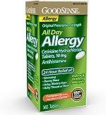 GoodSense All Day Allergy, Cetirizine Hydrochloride Tablets, 10 mg, Antihistamine, 365