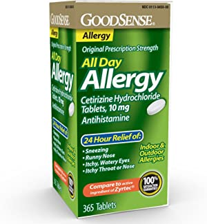 GoodSense All Day Allergy, Cetirizine Hydrochloride Tablets, 10 mg, Antihistamine, 365 Count