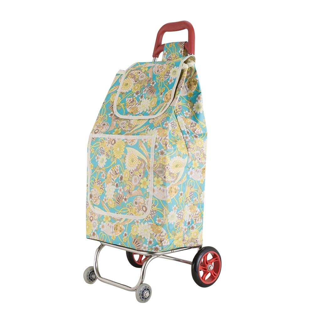 ZHAOHUI ショッピングカート 折りたたみ可能 鋼管 家庭 オックスフォード布 軽量 PUホイール 耐摩耗性、 2つのスタイル (Color : B) B07LD9HZCF B