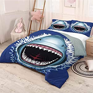 HELLOLEON Shark 3-Pack (1 Duvet Cover and 2 Pillowcases) Bedding Attack of Open Mouth Sharp Teeth Sea Danger Wildlife Ocean Life Cartoon Polyester (Queen) Royal Blue Teal