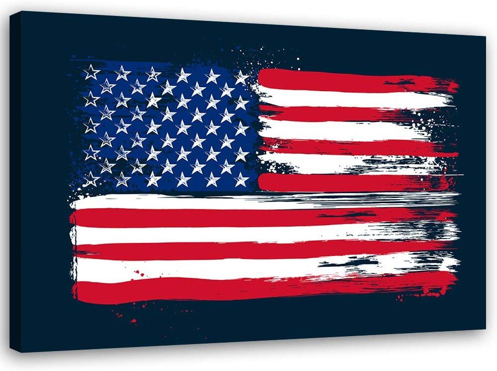 carowall CAROWALL.COM Cuadro en Lienzo Bandera de USA Calidad fotografica Azúl 60x40 cm