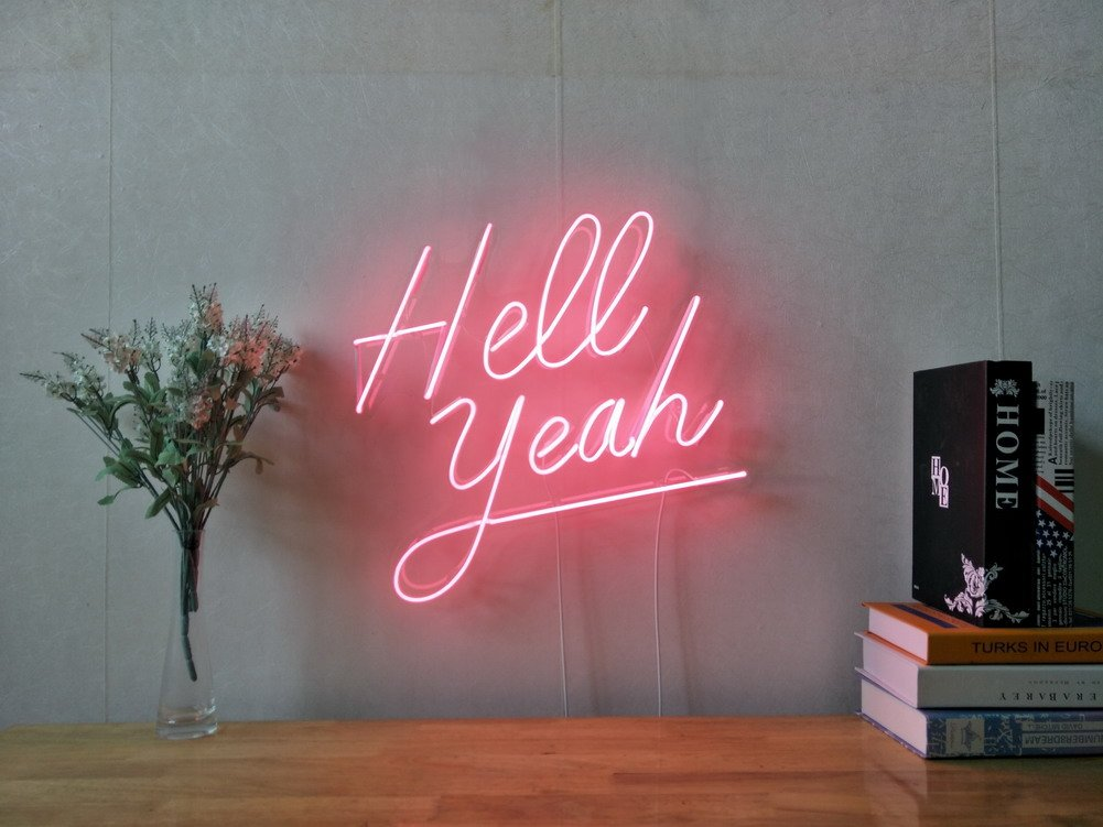 Hell Yeah Real Glass Neon Sign For Bedroom Garage Bar Man Cave Room Home Decor Handmade Artwork Visual Art Dimmable Wall Lighting Includes Dimmer