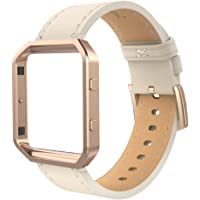 Simpeak Leather Band Compatible with Fit bit Blaze, Small Size with Frame, Genuine Leather Band Replacement for Fit bit Blaze, Beige Rose Gold Metal Frame