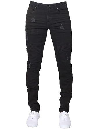 80667109195d Enzo Mens Super Skinny Fit Jeans Stretch Ripped Biker Denim Pants ...