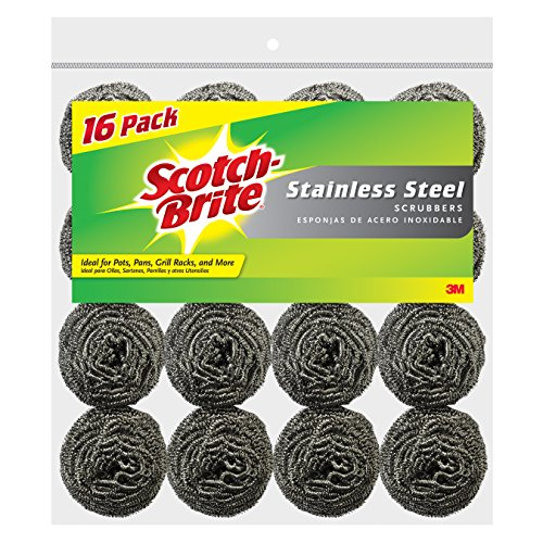 - Scotch-Brite Stainless Steel Scrubbers, 16-Scrubbers/Pk (16 Pads Total)