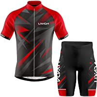 Baugger Men Cycling Jersey Breathable Short Sleeve Bike Shirt and Padded Shorts MTB Bicycle Clothing Suit