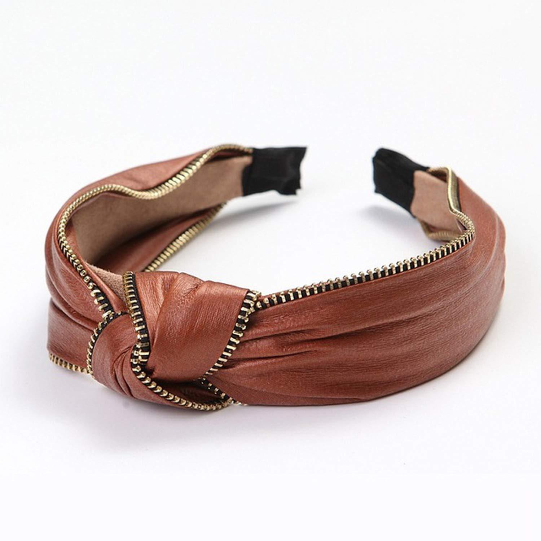 Fashion Leather Hairband Knot Headband Hair Hoop Bands Accessories Women Hair Headdress,Wine Red