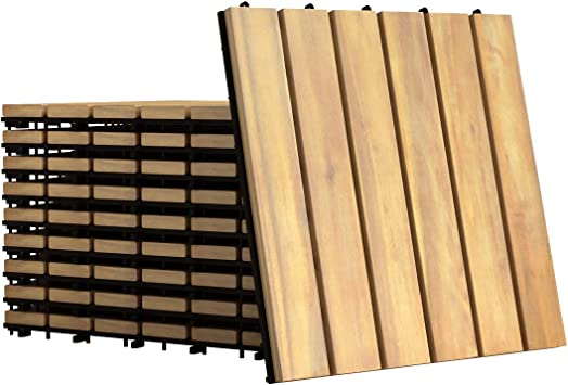 Interlocking Wood Deck Tiles Giantex 88 PCS 12 x 12 Floor Tiles Patio Pavers Spiral Pattern Brown 8 Indoor and Outdoor Flooring Decking Tiles