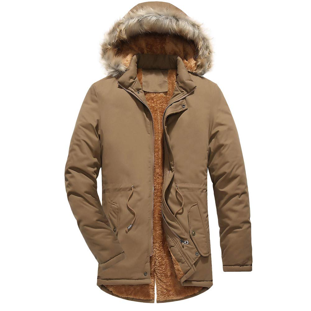 Men Winter Solid Jacket GREFER Clearance Keep Warm Thickening Coat Outwear Top Plus Size by GREFER