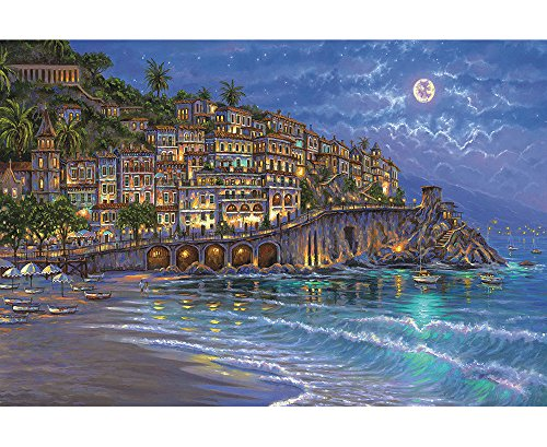 Moon Boat Full (Funnybox Romantic coast- Beach,boat,full moon Natural landscape- painting wooden Jigsaw Puzzles for Teens and Family 1000 pieces)