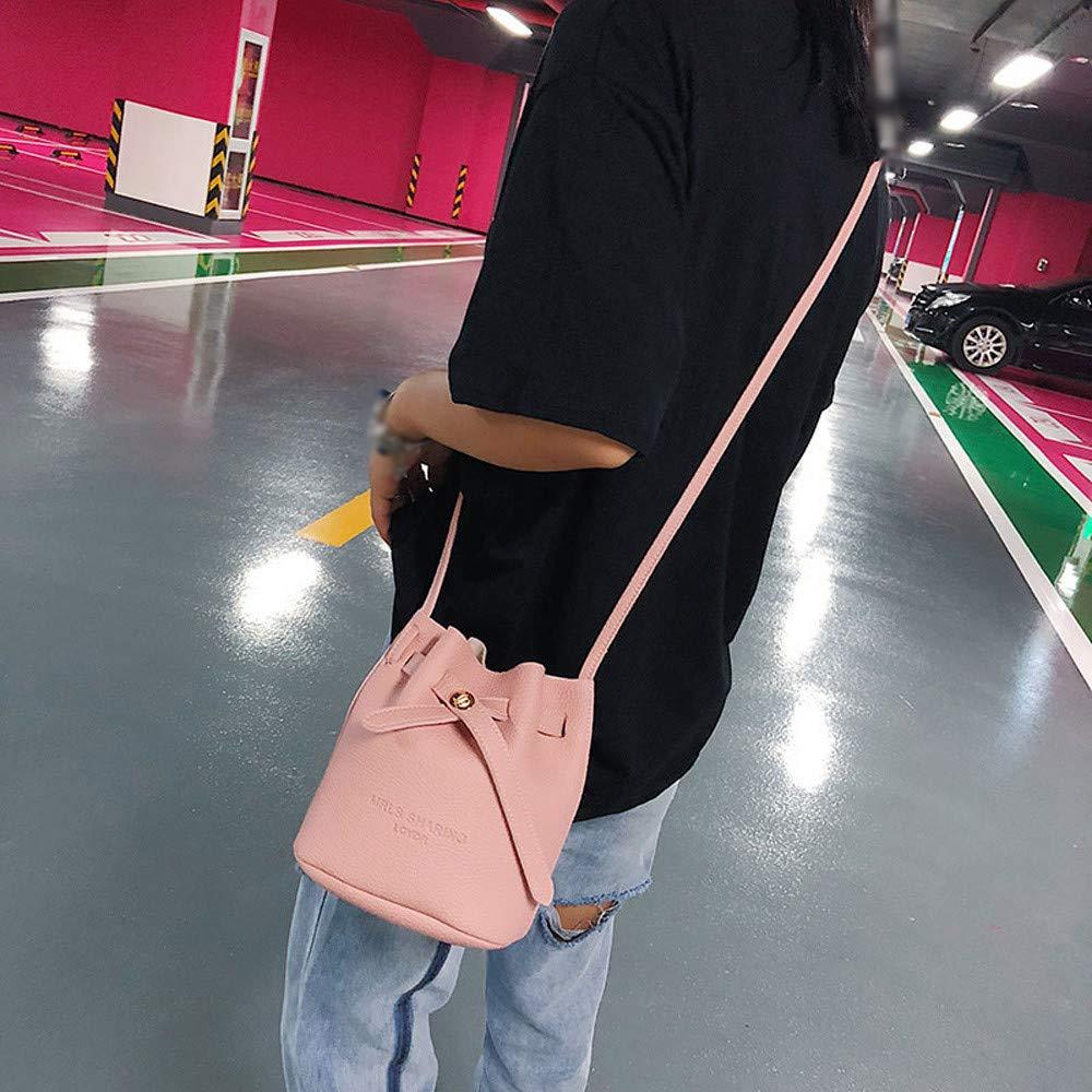 Drawstring Bucket Bag for Women Small Crossbody Purse Mini Handbag Shoulder Bag Purse Tote PU Leather Bags