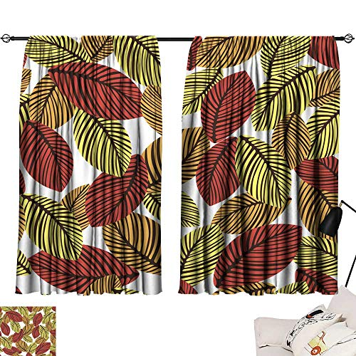 Living Room Curtains Abstract Autumn Leaves Seamless Pattern Vector Background Hand-Drawn Leaves on a White Background for Fabric Design Wallpaper Wrappers 72