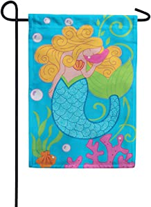 Custom Decor Mermaid Glitter - Garden Size, Embroidered Applique Style, Double Sided Decorative Flag - Approx. 12 Inch X 17.98 Inch