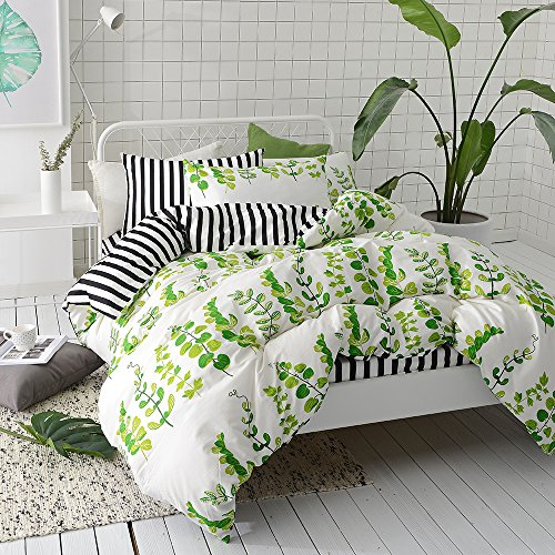 VClife Leaves Bedding Sets Queen Duvet Cover Sets Stripe Duvet Cover with 2 Pillowcases Hotel Quality Floral Bedding Collection, Luxurious Soft Breathable Lightweight Reversible Geometric Bed (Leaf Queen Duvet)