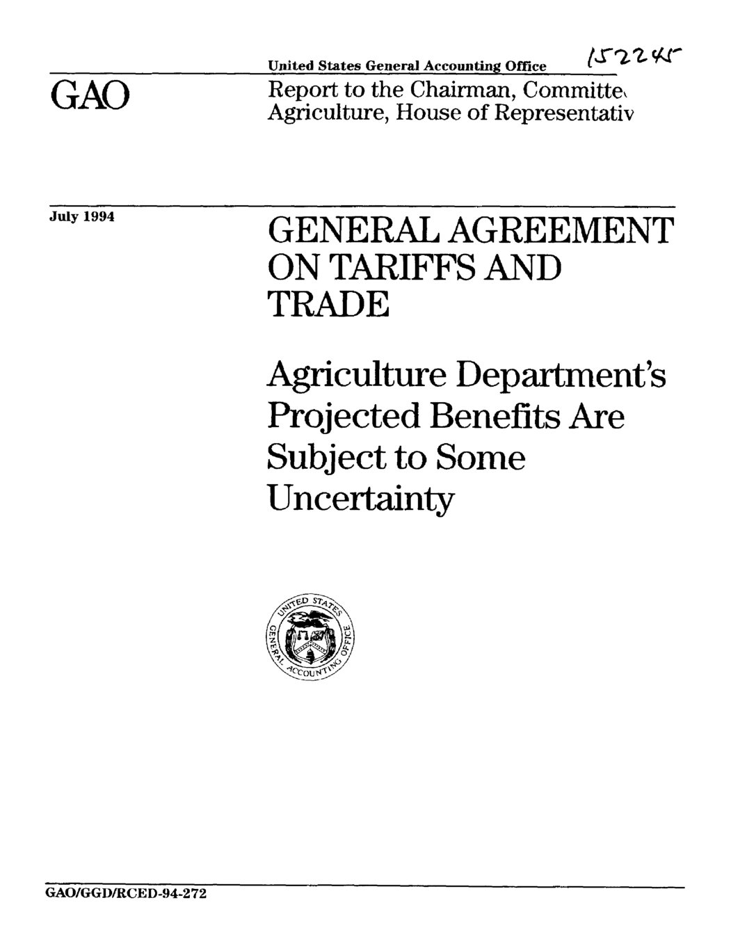 General Agreement On Tariffs And Trade Agriculture Departments