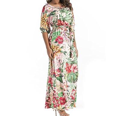 Longra Damen Kleider Große Größen Kleider Blumen Druckkleider ...