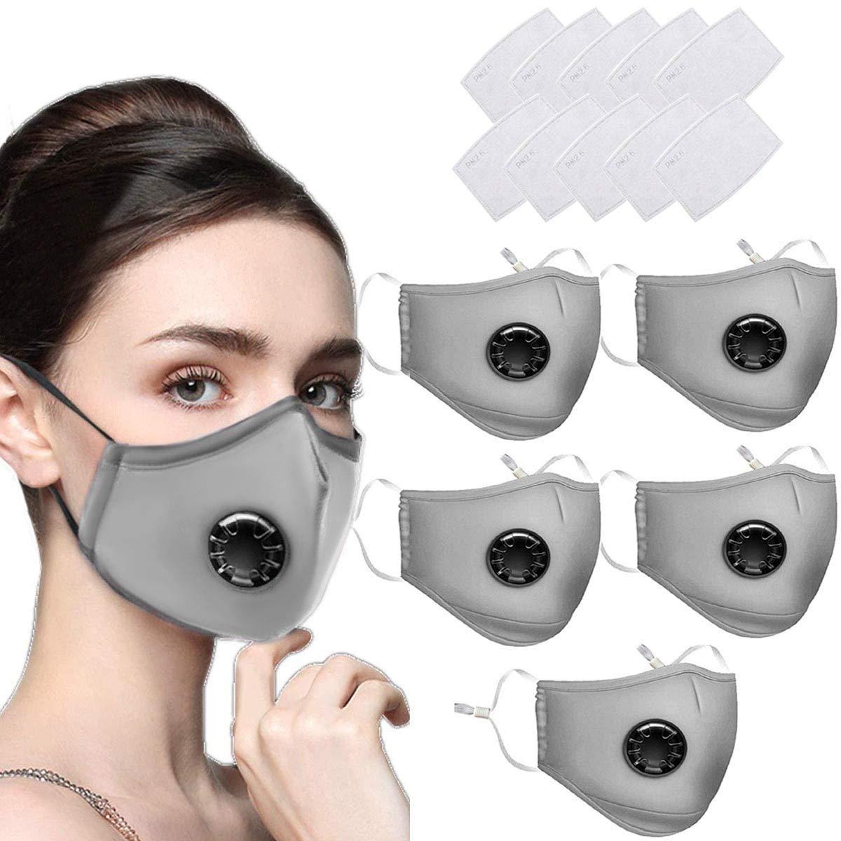 5 x Máscaras faciales reutilizables Máscara de polvo lavable del Reino Unido con filtro para motocicleta Bicicleta Ciclismo y actividades al aire libre -con 10 filtros de carbón activadogris