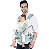 Baby Carrier, 6 Positions All Seasons Breathable 360 Ergonomic Hip Seat 130cm Maximum Adjustable Waistband Maximum with Removal Hoodie and Bibs 3 Convenient Pockets 100% Cotton (Newborns Infants & Toddlers)