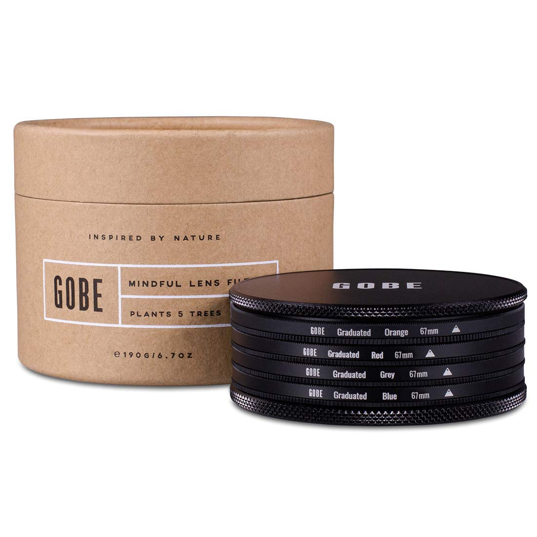 Gobe Graduated Color 67mm Filters: Orange, Blue, Grey, Red