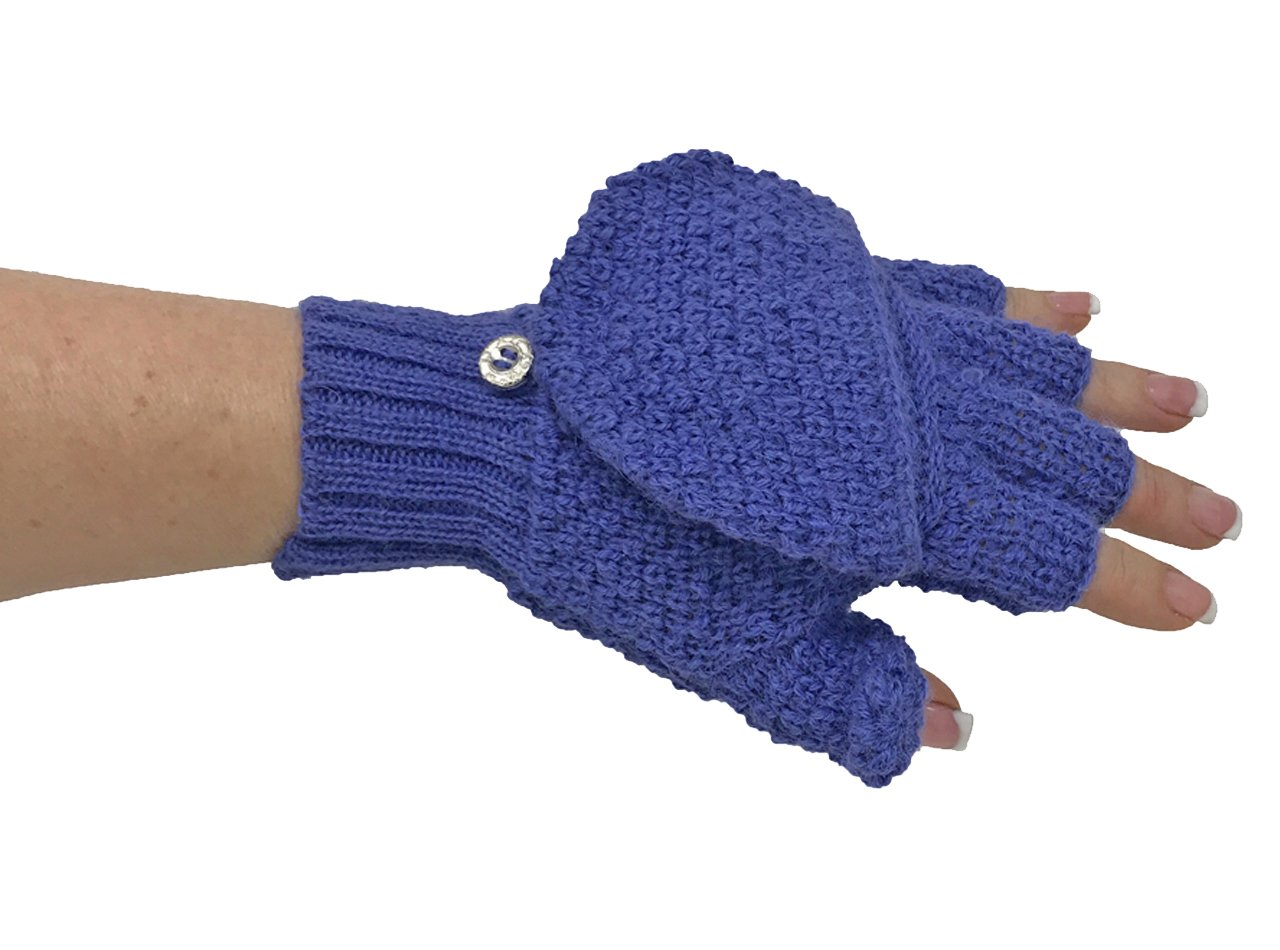 100% Alpaca Pop-Top Glittens - Mittens and Gloves in One! (Periwinkle)