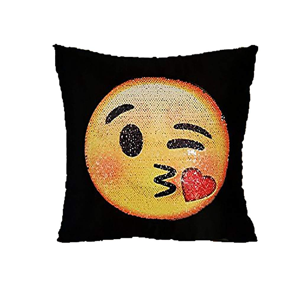 Emoji Sequin Mermaid Pillow Covers-Funny Changeable Face Cushion Cover DIY Decorative Pillowcase for Sofa Home Decor 16 X 16\