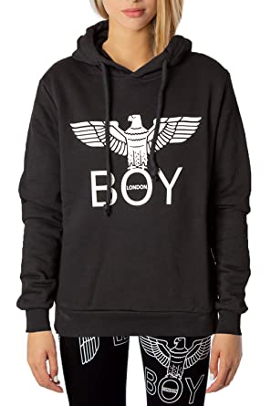 Boy London Felpa con Cappuccio Donna Banda Logo bld2090