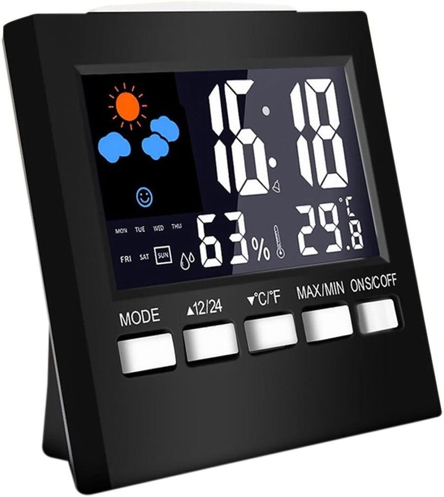 RETYLY Thermom/ètre hygrom/ètre num/érique LCD temp/érature humidit/é Compteur Chambre int/érieure Horloge