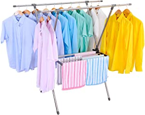 BAOYOUNI Foldable Hanging Clothes Drying Rack Stainless Steel Laundry Towels Hanger Stand X-Frame Double Pole, Grey