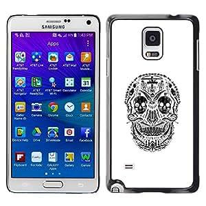 MobileHut / Samsung Galaxy Note 4 SM-N910F SM-N910K SM-N910C SM-N910W8 SM-N910U SM-N910 / Skull Christian Black Cross White / Delgado Negro Plástico caso cubierta Shell Armor Funda Case Cover