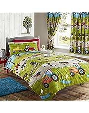Kids Club Parure de lit Simple ou Double à Motif Ferme - Enfant (Lit Simple) (Vert)