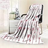 YOYI-HOME Digital Printing Duplex Printed Blanket Sport of Archery Falling Arrows Pattern Art with Drawing Effect Accessories Coral and White Summer Quilt Comforter /W31.5 x H47