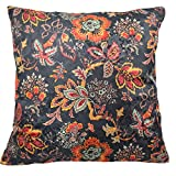 Traditions by Waverly 14315018X018OYX Navarra Floral 18-Inch by 18-Inch Decorative Pillow Set (2 Pack), Onyx