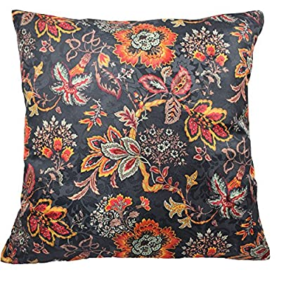 "Traditions By Waverly 14315018X018OYX Navarra Floral Decorative Pillow Set (2 Pack), 18"" x 18"", Onyx - 2-Pack pillow set Coordinating Navarra window panels and valance sold separately 100 Percent polyester - living-room-soft-furnishings, living-room, decorative-pillows - 61Jjxrfw1rL. SS400  -"