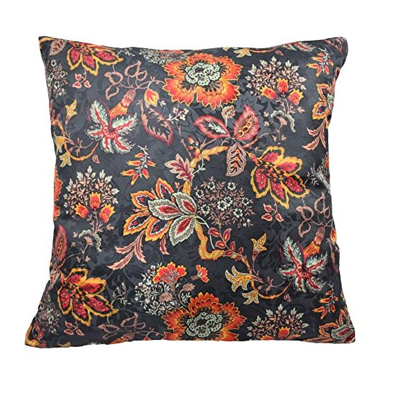 "Traditions By Waverly 14315018X018OYX Navarra Floral Decorative Pillow Set (2 Pack), 18"" x 18"", Onyx - 2-Pack pillow set Coordinating Navarra window panels and valance sold separately 100 Percent polyester - living-room-soft-furnishings, living-room, decorative-pillows - 61Jjxrfw1rL. SS570  -"