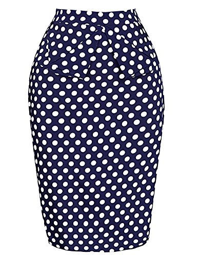 Women Sexy Slim Skirts Dress for Cocktail Tea,Navy Blue,Medium